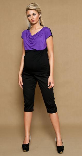 Be MaaMaa Těhotenské kalhoty ALADINKY 3/4 - černével. XL (42)