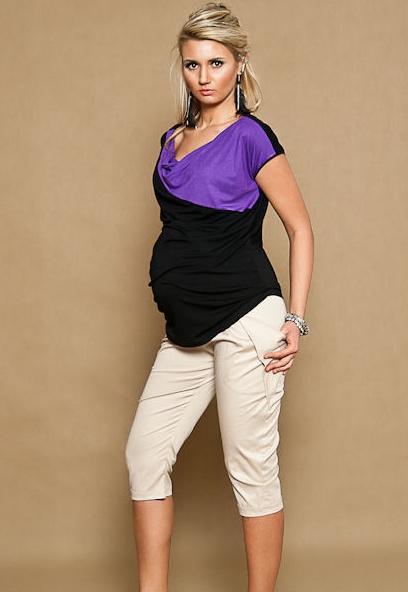 Be MaaMaa Těhotenské kalhoty ALADINKY 3/4 - béžovével. XL (42)