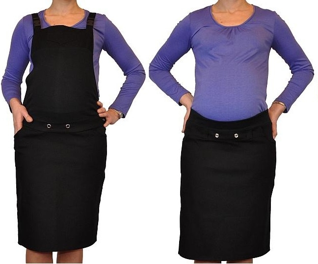Be MaaMaa Těhotenské šaty/sukně s láclem - černé