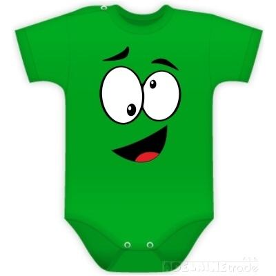Baby Dejna Body kr. rukáv  s Tváří - zelené
