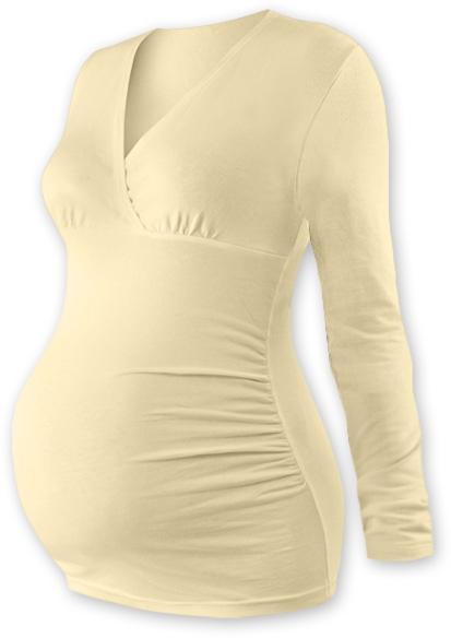 JOŽÁNEK Těhotenské triko/tunika dlouhý rukáv EVA  - latte