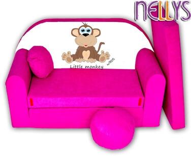 Rozkládací dětská pohovka Little Monkey Nellys - růžová
