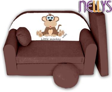 Rozkládací dětská pohovka Little Monkey Nellys - hnědá