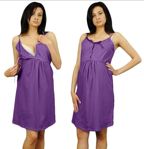 Noční košilka na ramínka  - fialová, Velikost: L/XL