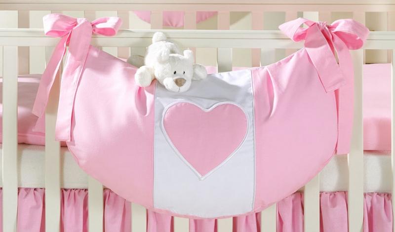 Luxusní kapsář na hračky - Růžový s bílým srdíčkem