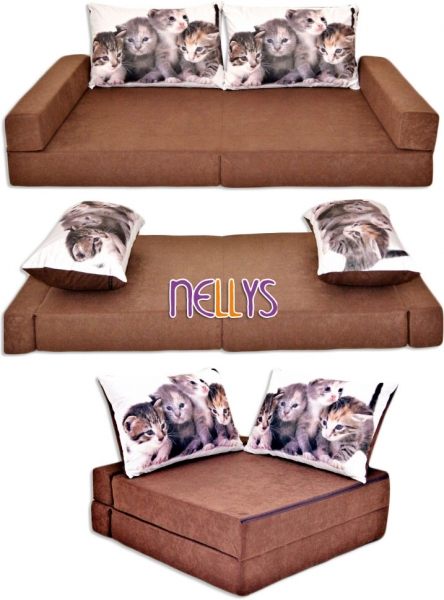 NELLYS Rozkladací dětská pohovka 3 v 1 - P23 - Kočičky v hnědé