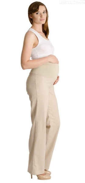 Lněné kalhoty, rovné - letní - béžové, Velikost: M