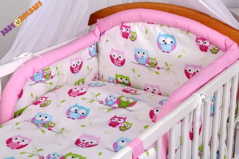 Bavlněné povlečení Baby Dreams Kolekce - Sovičky - růžové (vzor: Kolekce - Sovičky - růžové, rozměr: 135x100, 2D)