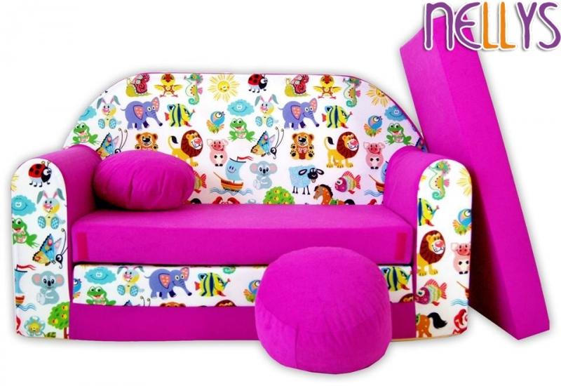 NELLYS Rozkládací dětská pohovka 44R - Malá zvířátka safari v růžové