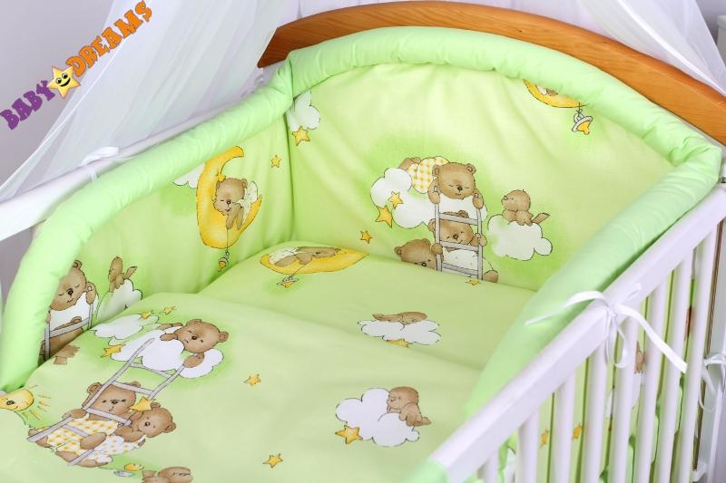 Bavlněné povlečení Baby Dreams - Medvídek na žebříku v zeleném/zelený