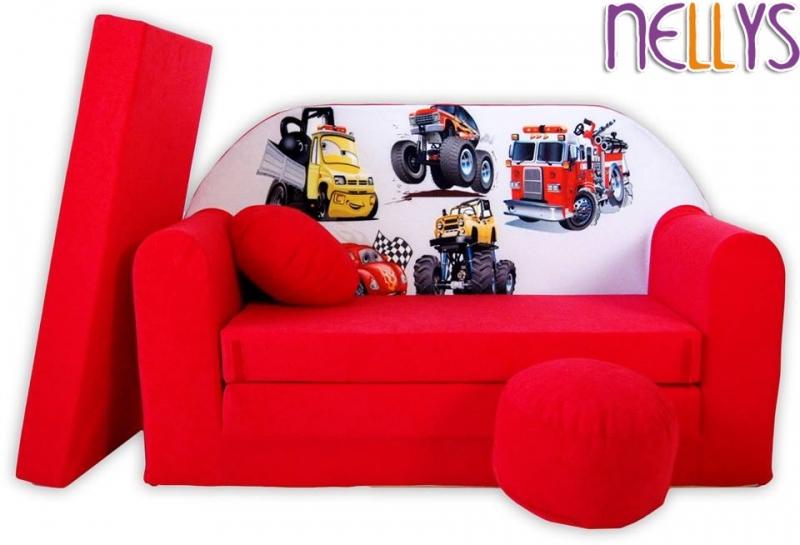 NELLYS Rozkládací dětská pohovka 50R - Auta v červené