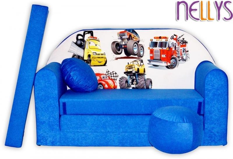 NELLYS Rozkládací dětská pohovka 52R - Auta v modré