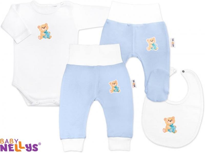 4D sada koj. oblečení Baby Nellys® - Medvídek dáreček sv. modrý