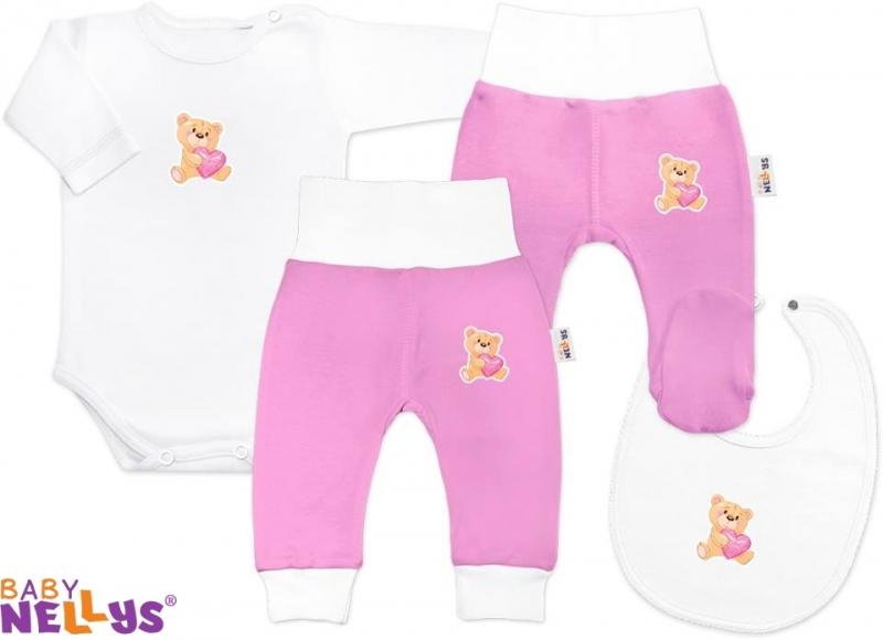 4D sada koj. oblečení Baby Nellys® - Medvídek srdíčko růžová, Velikost: 86 (12-18m)