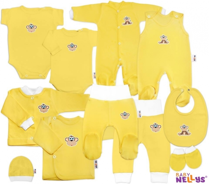 Mega sada kojeneckého oblečení Baby Nellys - Opička krémová