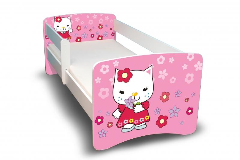 NELLYS Dětská postel s bariérkou Filip - Kočička  II. - 180x90 cm