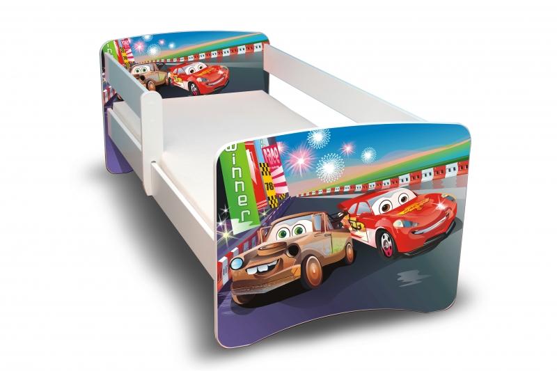 NELLYS Dětská postel s bariérkou Filip - Auta 2. II. - 180x90 cm