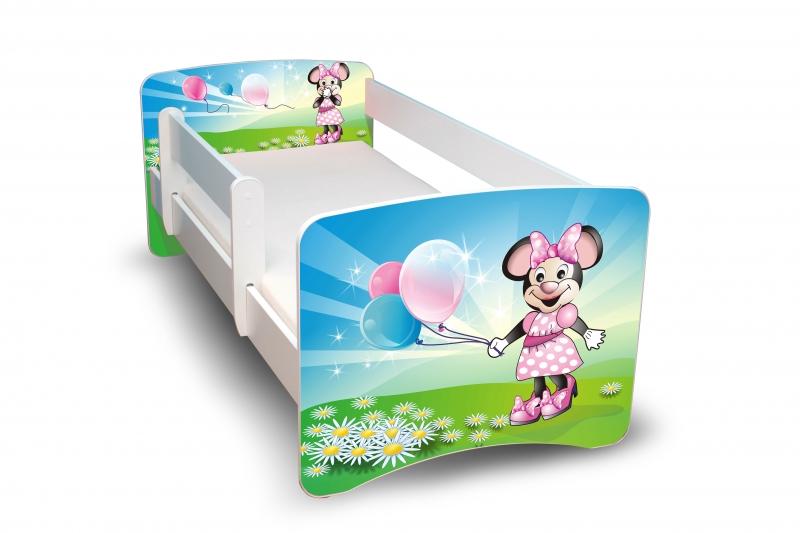 NELLYS Dětská postel s bariérkou Filip - Myška s balónkem II. - 180x80 cm