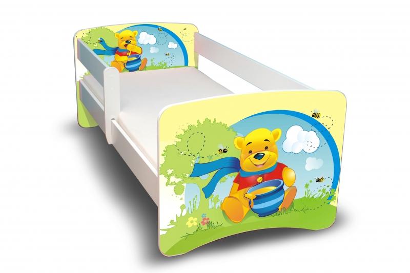 NELLYS Dětská postel s bariérkou Filip - Medvídek s medem II. - 180x80 cm