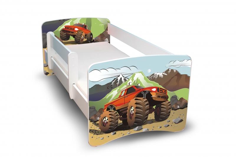 NELLYS Dětská postel s bariérkou Filip - Auta, II. - 180x80 cm