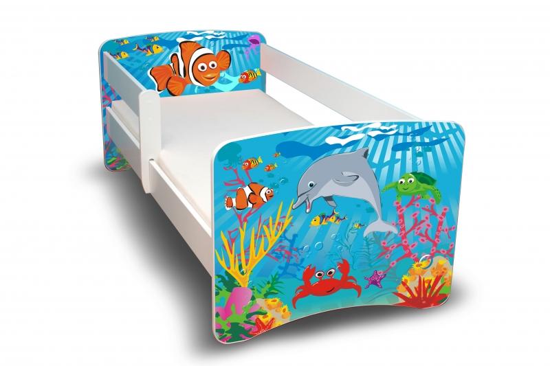 NELLYS Dětská postel s bariérkou Filip - Oceán II. - 180x80 cm