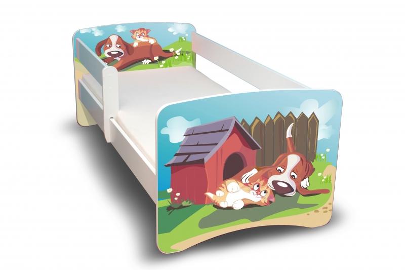 NELLYS Dětská postel s bariérkou Filip - Pejsek a Kočička II. - 180x90 cm