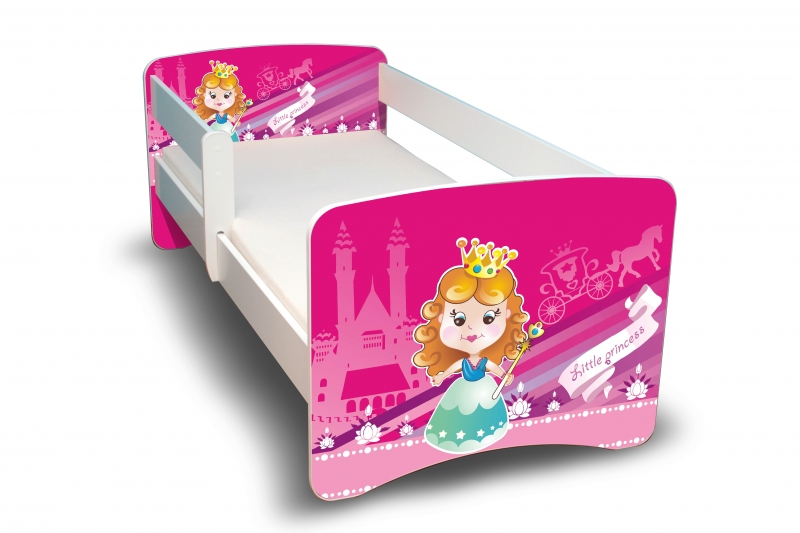 NELLYS Dětská postel s bariérkou a šuplíkem Filip - Malá princezna II. - 180x80 cm