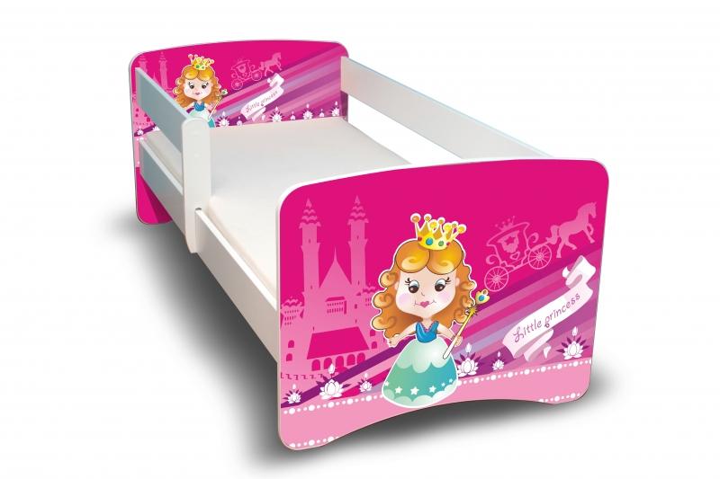 NELLYS Dětská postel s bariérkou a šuplíkem Filip - Malá princezna II. - 180x90 cm