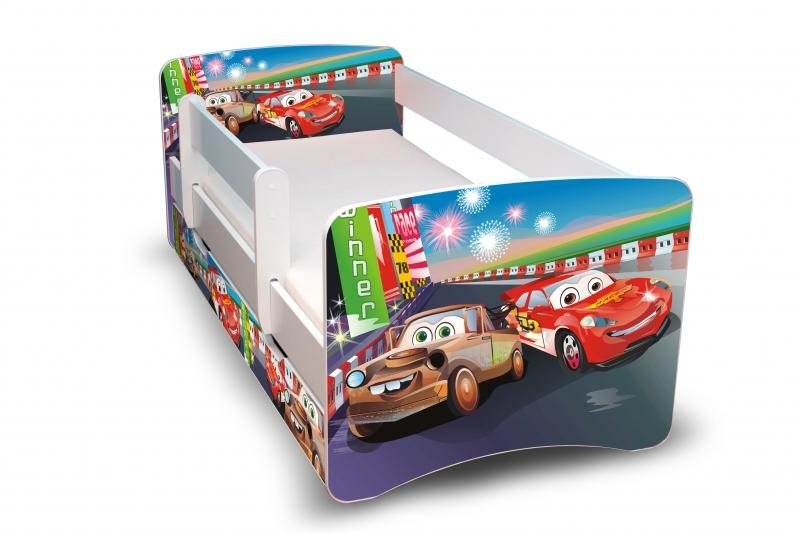 Dětská postel s bariérkou a šuplíkem Filip - Auta 2 II.  - 180x90 cm