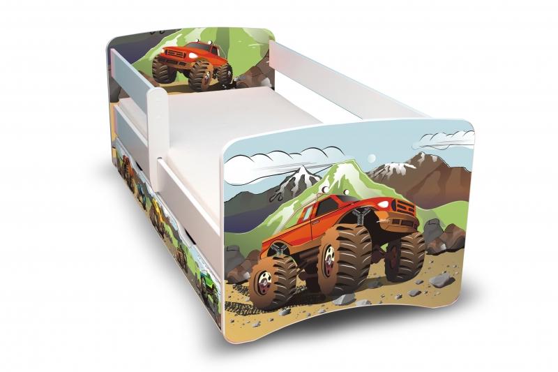 Dětská postel s bariérkou a šuplíkem Filip - Auta II. - 180x90 cm