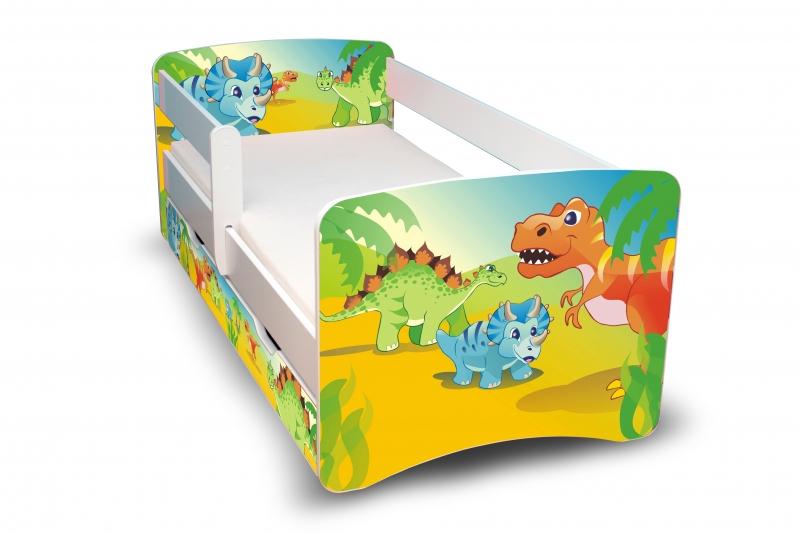 NELLYS Dětská postel s bariérkou a šuplíkem Filip - Dino II - 180x80 cm