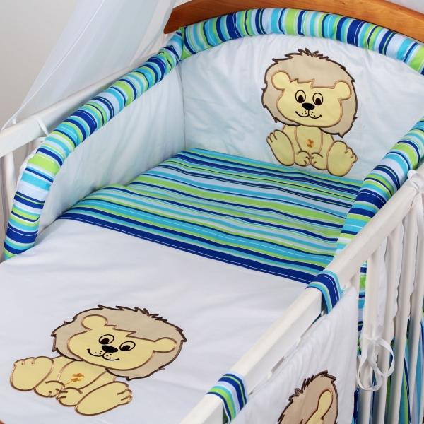 Luxusní povlečení Baby Dreams - SAFARI - LEV - vzor: SAFARI LEV Proužek tyrkys, rozměr: 135x100, 2D