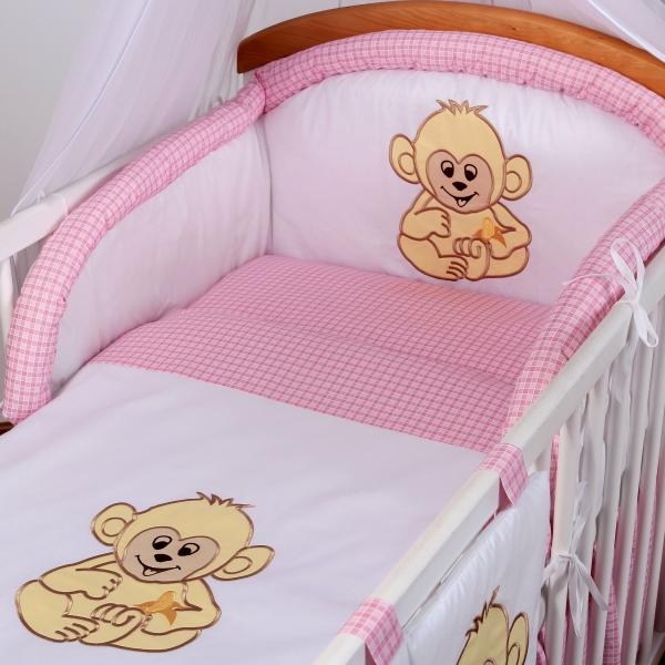 Luxusní povlečení Baby Dreams - SAFARI - OPICE - vzor: SAFARI OPICE Kostička růžová, rozměr: 120x90, 2D
