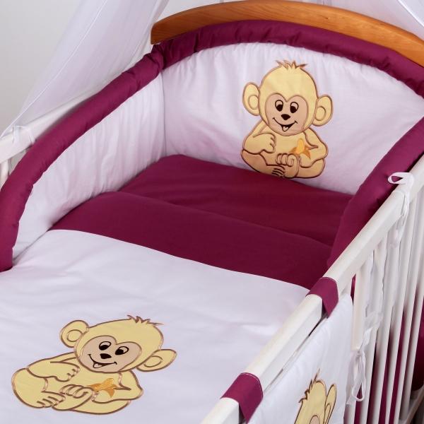 Luxusní povlečení Baby Dreams - SAFARI - OPICE - vzor: SAFARI OPICE Višeň/švestka, rozměr: 120x90, 2D