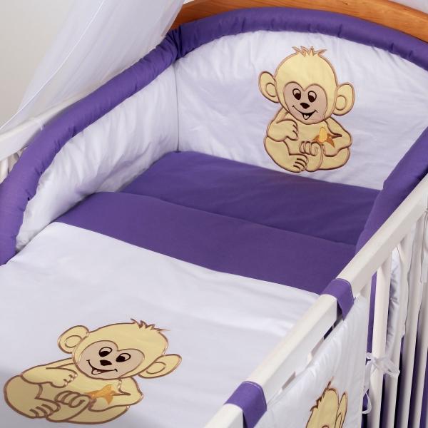 Luxusní povlečení Baby Dreams - SAFARI - OPICE - vzor: SAFARI OPICE Fialová/lila, rozměr: 120x90, 2D