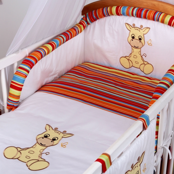 Luxusní povlečení Baby Dreams - SAFARI - ŽIRAFA - vzor: SAFARI ŽIRAFA Proužek pomeranč, rozměr: 120x90, 2D