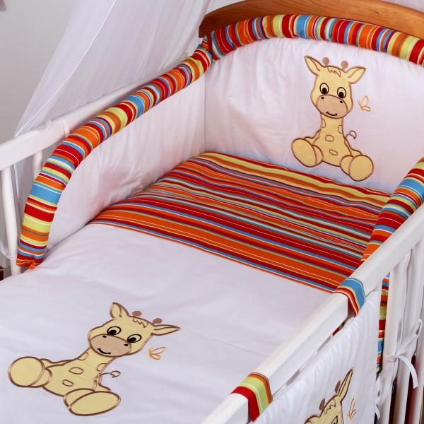 Luxusní povlečení Baby Dreams - SAFARI - ŽIRAFA - vzor: SAFARI ŽIRAFA Proužek pomeranč, rozměr: 135x100, 2D
