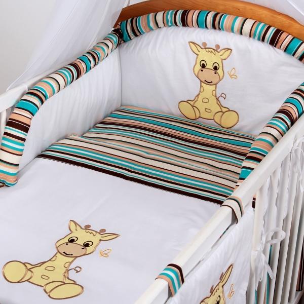 Luxusní povlečení Baby Dreams - SAFARI - ŽIRAFA - vzor: SAFARI ŽIRAFA Proužek čokoláda, rozměr: 135x100, 2D