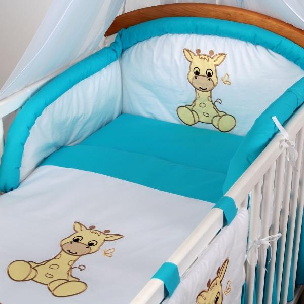 Luxusní povlečení Baby Dreams - SAFARI - ŽIRAFA - vzor: SAFARI ŽIRAFA Tyrkys, rozměr: 135x100, 2D