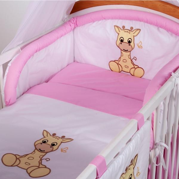 Luxusní povlečení Baby Dreams - SAFARI - ŽIRAFA - vzor: SAFARI ŽIRAFA Růžová, rozměr: 135x100, 2D