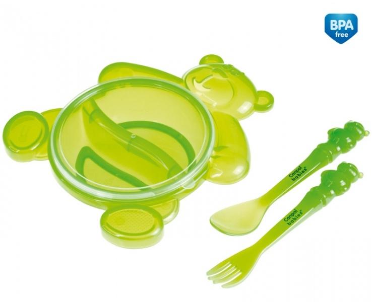 Miska Medvídek s příborem Canpol Babies - zelená
