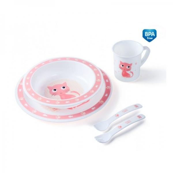 Sada nádobí Canpol Babies, růžová Kočička