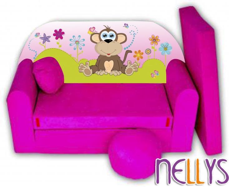 Rozkládací dětská pohovka Opička Nellys na louce - růžová