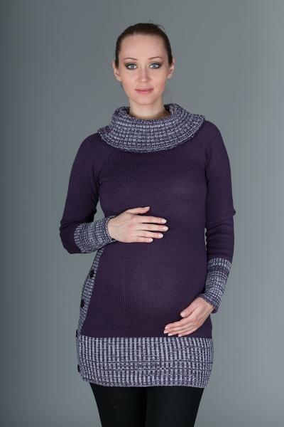 Těhotenský svetřík/tunika Carmen - fialová s melirkem