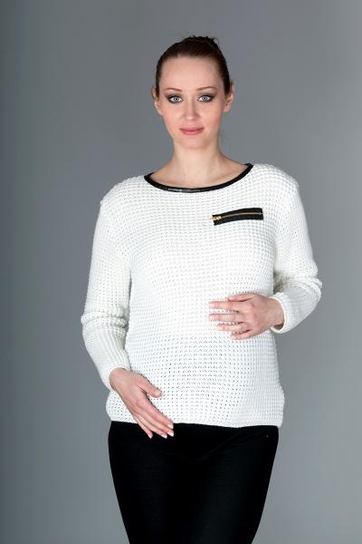 Be MaaMaa Těhotenský svetřík Molly s ozdobným lemem - bílá