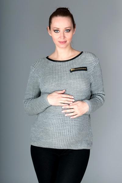 Be MaaMaa Těhotenský svetřík Molly s ozdobným lemem - šedý