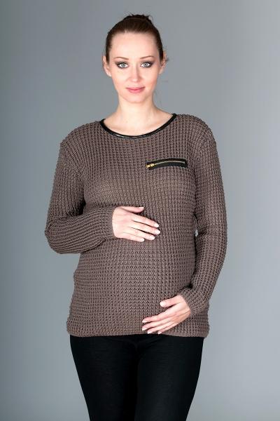 Be MaaMaa Těhotenský svetřík Molly s ozdobným lemem - mocca
