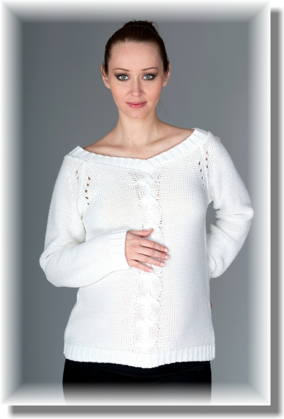 Be MaaMaa Těhotenský svetřík Tia - bílý