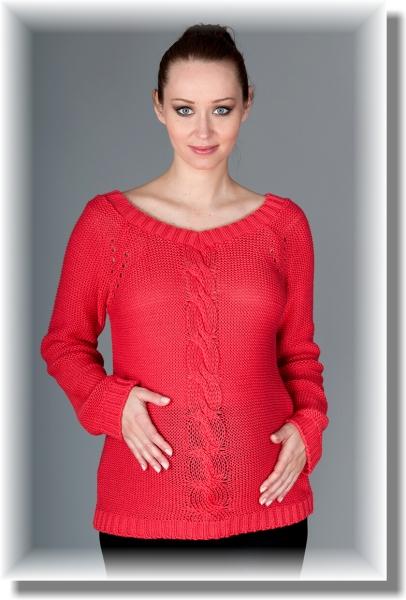 Be MaaMaa Těhotenský svetřík Tia - sytý korál