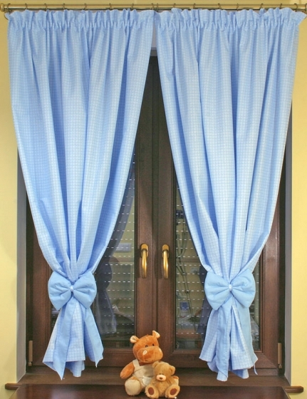 Krásné závěsy do pokojíčku - Kostička modrá